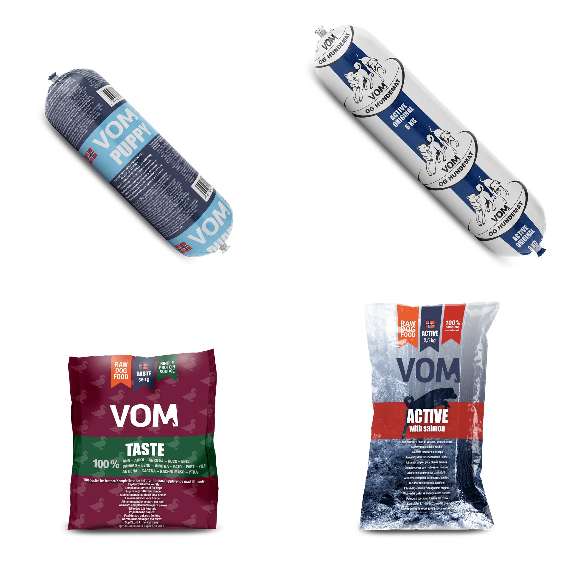 4 produktbilder av VOM hundemat